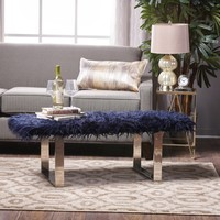 D'Angelo Chic Faux Furry Ottoman