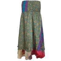 Mogulinterior Bohemian Long Skirt Silk Sari Vintage Floral Printed Two Layer Maxi Skirts