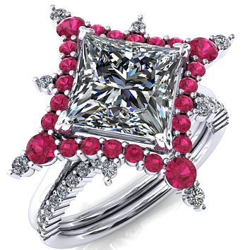 Thalim Princess/Square Moissanite 4-Point Star Ruby and Diamond Halo Ring ver. 2