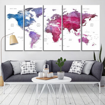 87207 - Large Wall Art World Map Canvas Print- Custom World Map Push Pin Wall Art- Custom World Map Canvas Poster Print- Personalized Wall Art
