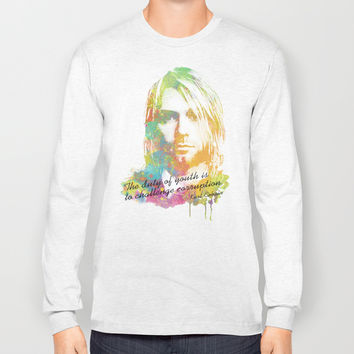 Colorful Kurt Donald Cobain (The duty of youth is to challenge corruption) Long Sleeve T-shirt by Nirvana.K