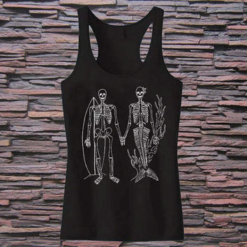 Womens SKELETON Mermaid and Surfer Tri Blend Tank top for womens and mens heppy fit