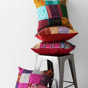 One-Of-A-Kind Patchwork Kantha Pillow Cover- Multi One