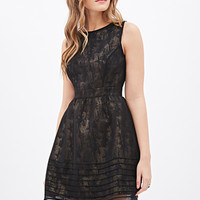 LOVE 21 Metallic A-Line Dress Black/Gold