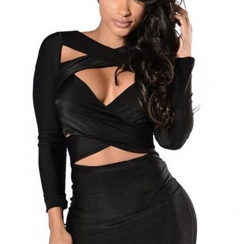 Chicloth Black Crisscross Wrap Long Sleeve Club Dress