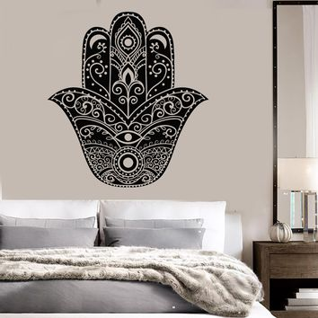 Vinyl Wall Decal Hamsa Protective Amulet Hand of God Home Art Stickers Unique Gift (ig3552)
