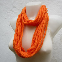 Crochet Scarf infinity    Necklace Colorful  Long  winter  Accessories Orange-chain loop scarf