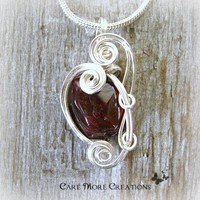 Genuine Garnet Wire Wrapped Pendant Necklace in Silver