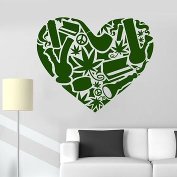 Vinyl Wall Decal Hippie Peace Love Heart Rastafarian Stickers Unique Gift (ig3995)