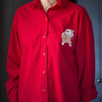 Red Cotton Shirt for cats lover Long Sleeve women's Shirt 90s embroidery kitty Shirt fun teen girl blouse Size S Italy made shirt vintage