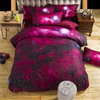 Home Galaxy  Shiny Space Bed Sheet Quilt cover/ Duvet cover pillowcase 3D Bedding Sets 4/3pcs Red Bright stars