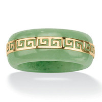 "Palm Beach Jewelry Gold Green Jade ""Greek Key"" Ring"