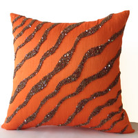 Decorative Throw Pillows -Orange Brown Sea waves in silk sequin bead cushion-16X16 Orange pillow -Bedding -Pillow cover -gift pillow -Autumn
