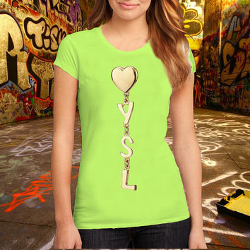 YSL_Heart Logo T Shirt Printed T Shirt, Women T Shirt, (Various Color Available)
