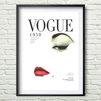 Vintage Vogue Cover, Fashion Wall Art, 1950 Edition, Fashion Poster,  Digital Download