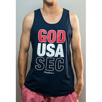 God, USA, SEC Tank Top in Navy by Rowdy Gentleman - FINAL SALE