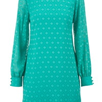 Cold Shoulder Embroidered Chiffon Shift Dress - Sea Green