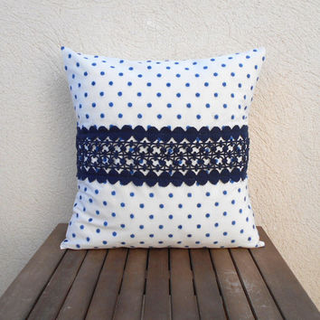 Polka Dot Pillow Cover, Blue Throw Pillow, Decorative Pillow, Lace Pillow, Pillow Cover 18 x 18, White and Blue Pillow, Home Decor Pillow