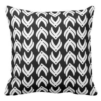 Black and white tribal style pattern pillow