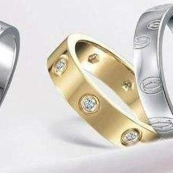 Cartier Fashion Cute couple rings women ring rhinestone ring on simplicity