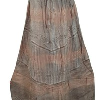 Indian Vintage Skirt Grey Brown Embroidered Rayon Boho Long Maxi Skirt Boho Chic: Amazon.ca: Clothing & Accessories