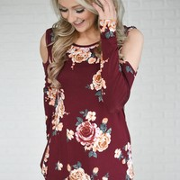 Burgundy Floral Cold Shoulder Top