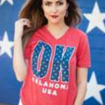 Red OK Stars V neck T-shirt