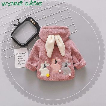 WYNNE GADIS Winter Infant Baby Cartoon Rabbit Long Sleeve Hooded Fleece Thick Warm Jacket Girls Outerwear Snow Wear Coat casaco