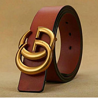 GUCCI Woman Men Fashion Trending Smooth Buckle Belt Leather Belt Brown red F