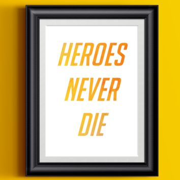 Overwatch Poster Mercy Heroes Never Die | Watercolor Wall Decor Gamer