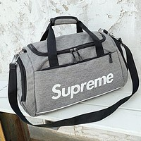 Supreme Women Men Canvas Luggage Travel Bags Tote Handbag Grey