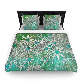 """Marianna Tankelevich """"Spring Daisies"""" Green White Woven Duvet Cover"""