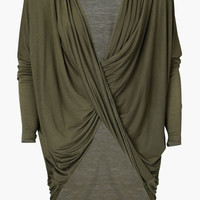Olive Green Cross Over Loose Top
