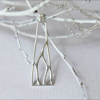 Openwork Modern Geometric Necklace in Sterling Silver