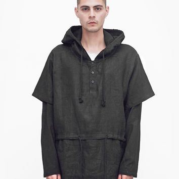 Linen Double-Layer Hooded Pullover in Black