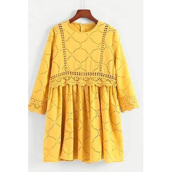 Lace Panel Embroidered Eyelet Yellow Dress