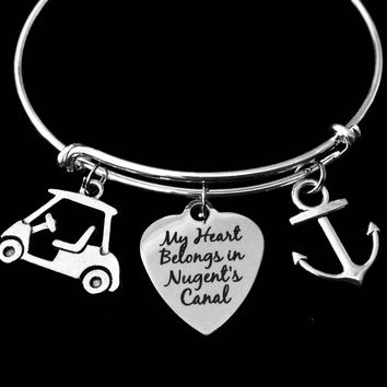 My Heart Belongs In Nugent's Canal Expandable Silver Charm Bracelet Adjustable Bangle One Size Fits All Gift Jewelry Lake Life Golf Cart Nautical Boat Anchor Port Clinton Ohio