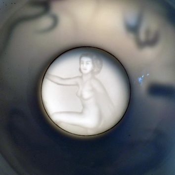 Vintage Gray Dragonware Moriage Cup and Saucer with Nude Lithophane