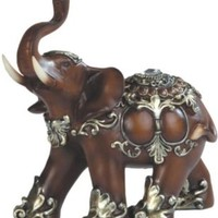 Thai Trunk Up Good Fortune and Luck Elephant Wood Look Collectible Statue Figurine