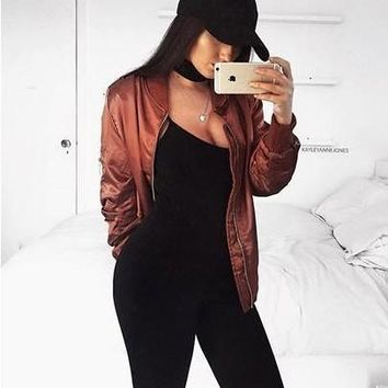 Hot Deal On Sale Sports Women's Fashion Winter Wine Red Jacket Baseball [37753159706]