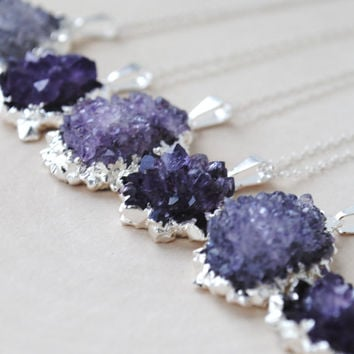 Amethyst Necklace, Amethyst Cluster Necklace, Raw Amethyst Necklace, Amethyst Pendant Necklace, Amethyst Druzy Necklace