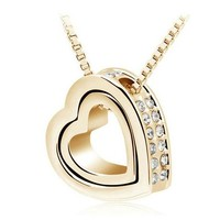 $3.99 Double Heart Pendant Sweater chain Necklace charm for women