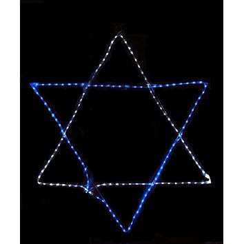 "Huge 72"" Blue and White LED Rope Light Star of David Hanging Hanukkah Decoration"