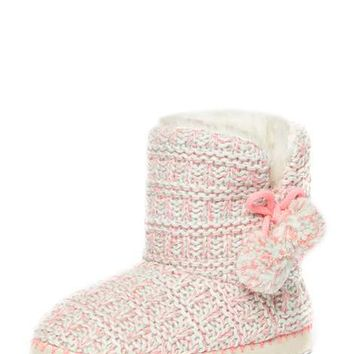 Pink Neon Knitted Bootie slippers - Sleepwear - Clothing