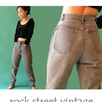 80s Vintage High Waisted Jeans RIO Jeans / Faded Black Jeans High Waist Taper Leg Jeans 1980s Mom Jeans / Waist 27