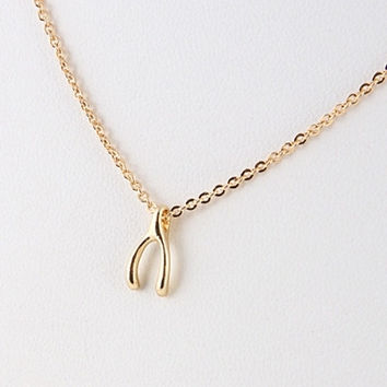 Simple Wishbone Necklace - Gold or Silver