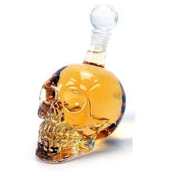 Crystal Head Wine Vodka Bottle, High Quality Creative Design Fun Doomed Transparent Party Drinkware Gift Halloween Christmas, Home Decor DIY