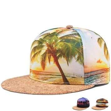 New Graphic Printed Tropical Palm Tree Beach Mens Flat Brim Snapback Baseball Cap Hat