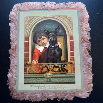 Victorian Silk Fringe Greeting Card New Year's Boy and Pet Dog
