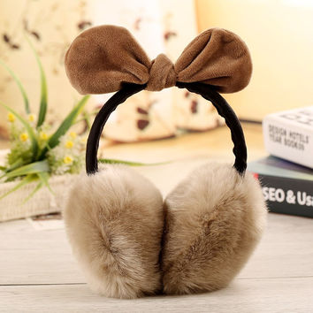 Girls Lovely Rabbit Ear Earmuff Winter Warm Faux Rabbit Fur Ear Warmer Bow Women Ear Muff Cover Bowknot Earmuff